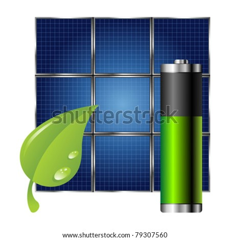 Clean energy. Solar panel green leaf and battery