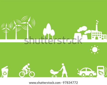 Clean energy sources and environment - stock vector