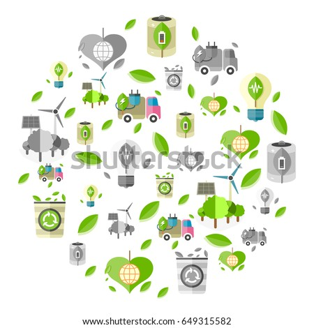 Clean energy symbols such as electro car, eco battery, energy-saving bulb and bin for recycling formed in circle vector illustration.