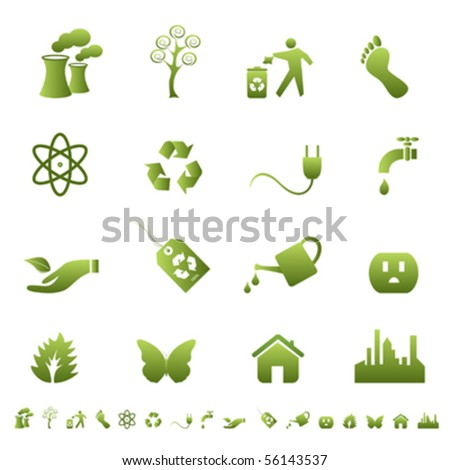 Clean environment and ecology symbols and signs