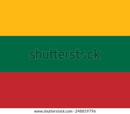 Clean flag of Lithuania, Europe, vector illustration - stock vector