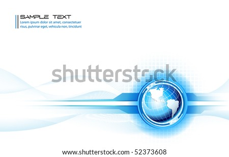 Clean futuristic vector design template with earth globe - stock vector