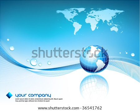 Clean futuristic vector design template with earth globe and map - stock vector