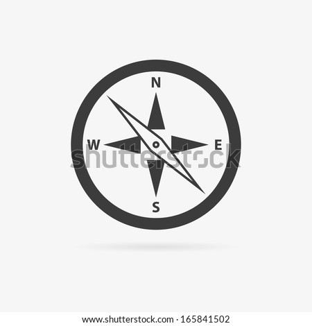 Clean gray vector flat compass symbol icon - stock vector