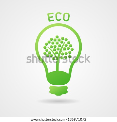 Clean green vector ecology bulb with tree, icon