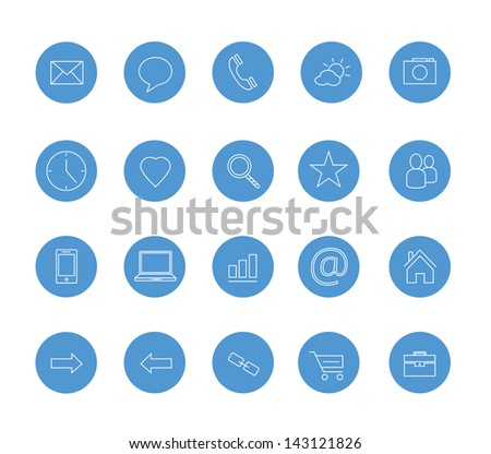 clean icons set blue - stock vector
