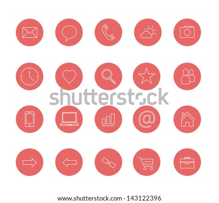 clean icons set red - stock vector