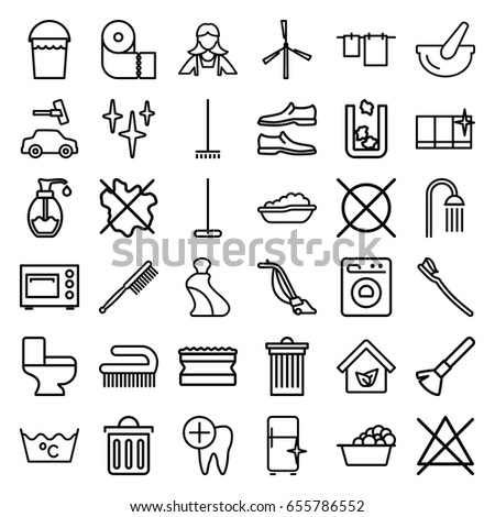 clean icons set set 36 clean stock vector 655786552 shutterstock