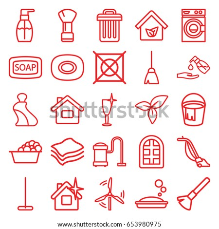 clean icons set set 25 clean stock vector 653980975 shutterstock