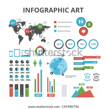 Clean Infographic Elements Set - stock vector