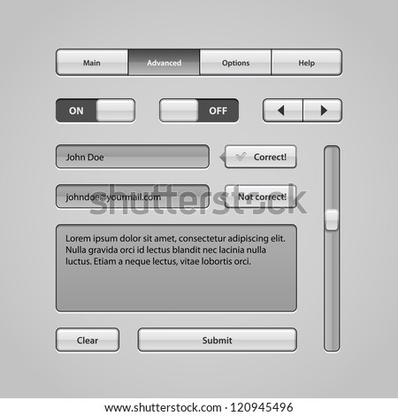 Clean Light User Interface Controls 5. Web Elements. Website, Software UI: Buttons, Switchers, Arrows, Navigation Bar, Menu, Search, Comments, Scroll, Scrollbar, Input, Text Box Area - stock vector