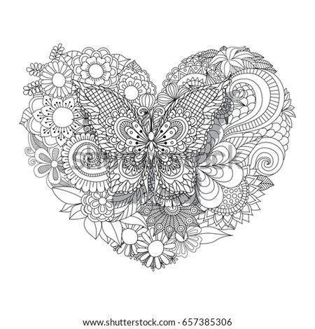 Heart Shaped Flowers Zentangle Pattern Coloring Stock Vector