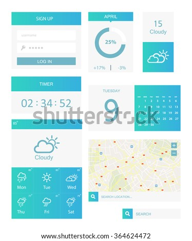 Clean Mobile Web UI Kit. White and blue color - stock vector