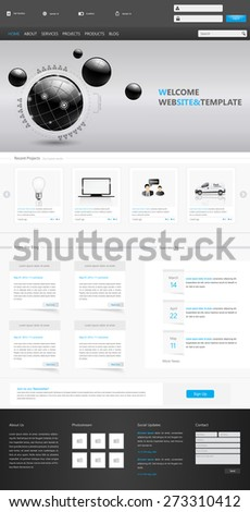 Clean Modern Corporate Website Template Design Vector Eps 10 Illustration