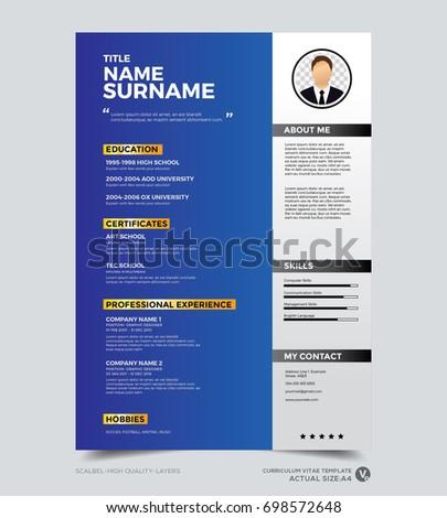 clean modern design template of resume cv template vector graphic layout - Cv Design Templates Vector