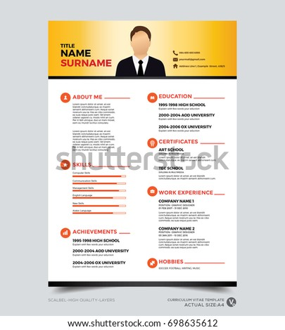 clean modern design template of resume cv template vector graphic layout