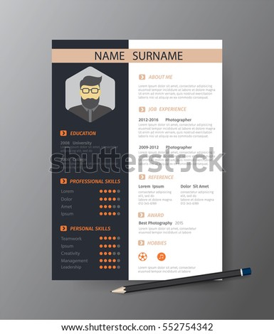 Clean Modern Design Template Resume Cvvector Stock Vector 550267870 ...