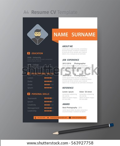 Clean Modern Design Template Resume C Vvector Stock Vector 563927758 ...