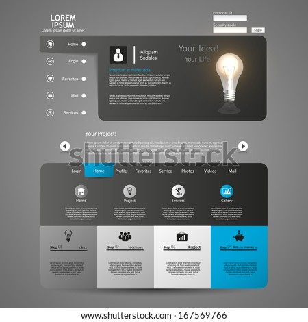 Clean, Modern Website template design - stock vector