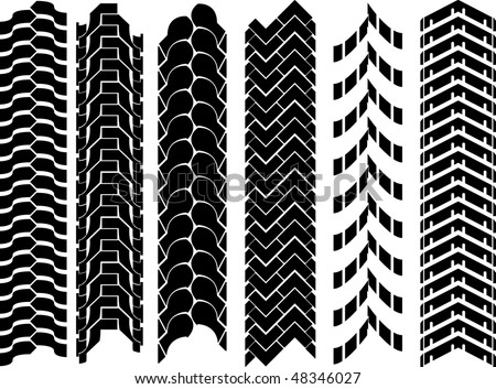 clean off-road tyre track set - stock vector