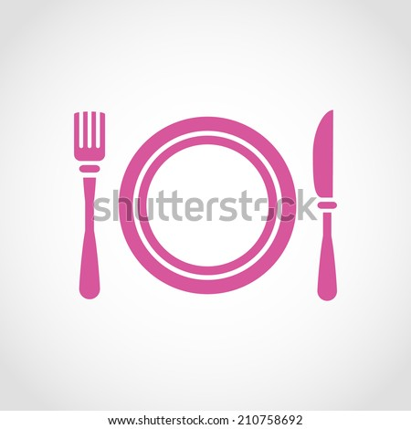 Clean Plate with Knife and Fork Icon Isolated on White Background - stock vector