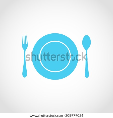 Clean Plate with Spoon and Fork Icon Isolated on White Background - stock vector