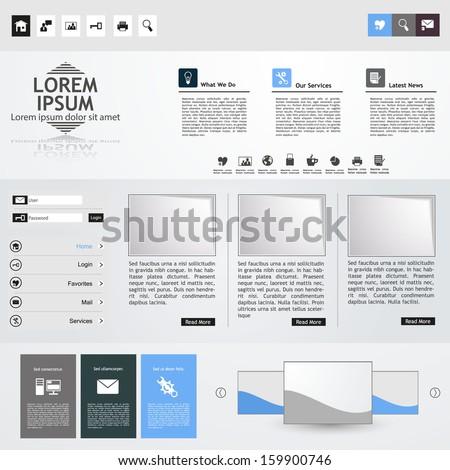 Clean Professional Website template in editable vector format  - stock vector