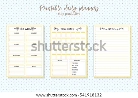 Clean Style Daily Planner Vector Template Stock Vector (Royalty Free ...