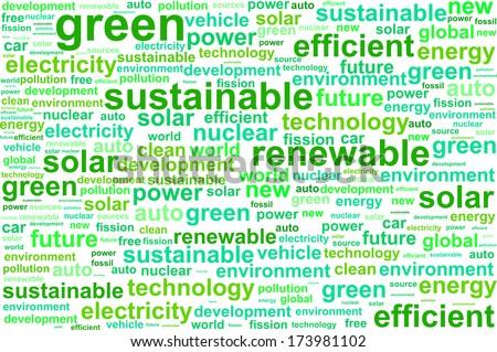 Clean Sustainable Renewable Energy Word Cloud Concept - stock vector