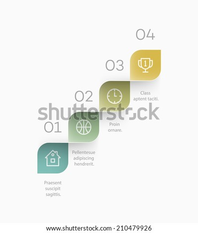 Clean template for a step by step concept explanation. EPS10 vector background. - stock vector