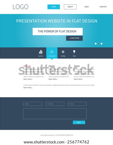 Clean template webdesign in popular flat design for presentation website with slider, top menu, contact form and main container in blue color.