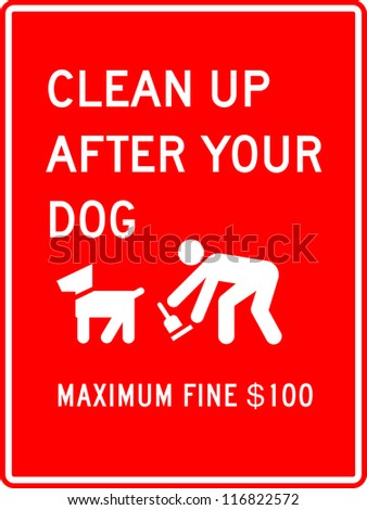clean up after your dog sign in red background - stock vector