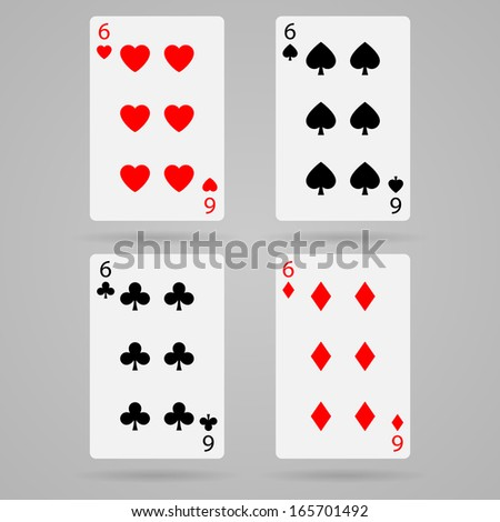 Clean vector set of playing cards, six
