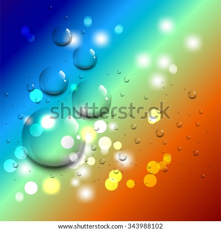 Clean water drop background on color surface - stock vector