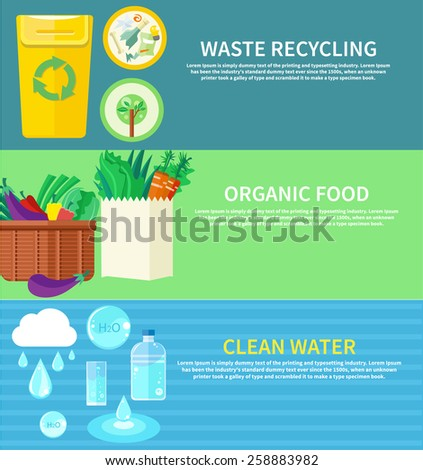 Clean water, organic food and waste recycling. Set of nature and organic icons in flat design, bio and environment concept on banners  - stock vector