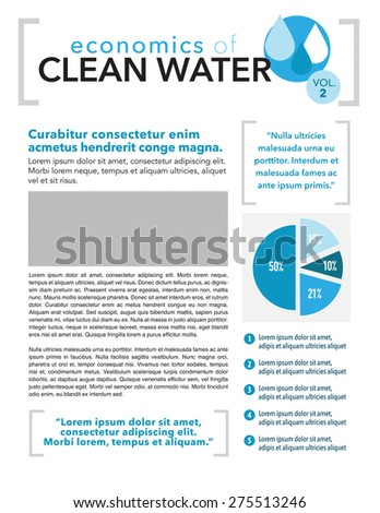 Clean water page layout newsletter for use with business or nonprofit - stock vector