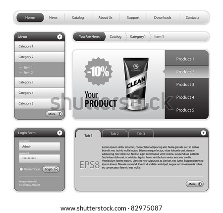 Clean Website Design Gray Elements: Buttons, Form, Slider, Scroll, Icons, Tab, Menu, Navigation Bar, Login, Template : Part 2 - stock vector