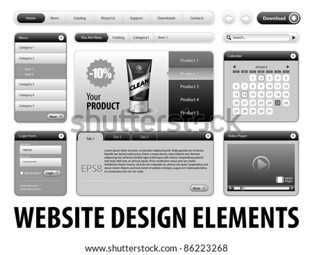 Clean Website Design Gray Elements: Buttons, Form, Slider, Scroll, Icons, Tab, Menu, Navigation Bar, Login, Video player, Calendar, Arrows, Download, Template : Part 3 Vector 	 - stock vector