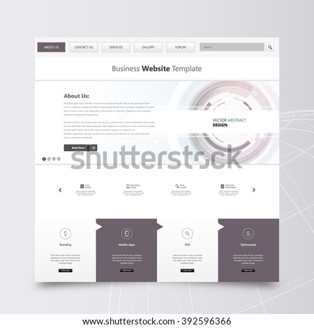Clean Website Template, Vector Design - stock vector