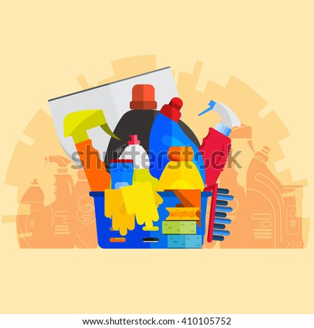 cleaner equipment products in bucket for cleaning housework domestic brush sponge bottle spray and protective gloves, housekeeping vector illustration or banner