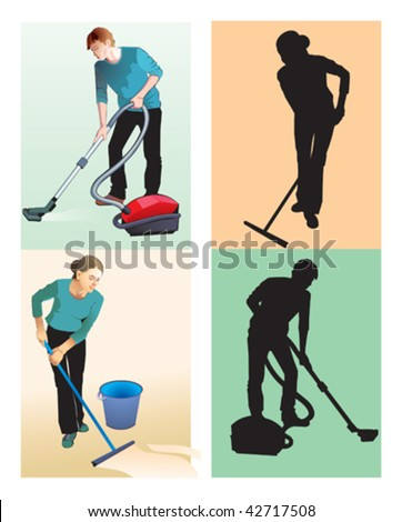 cleaner people - stock vector