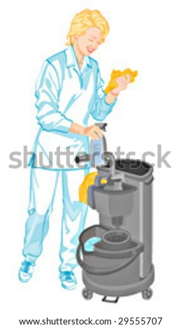 Cleaner Woman - stock vector
