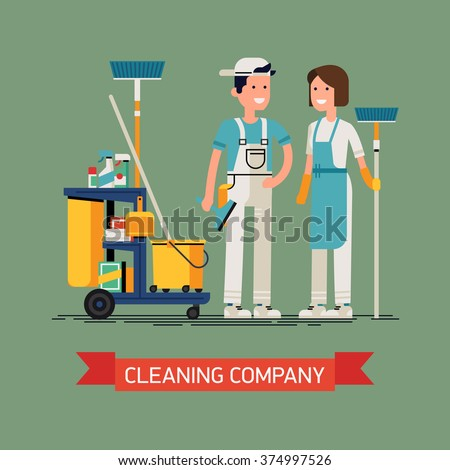 Cleaning company vector concept design. Cleaning staff characters with cleaning equipment in trendy flat design. Friendly smiling adult janitor workers standing - stock vector