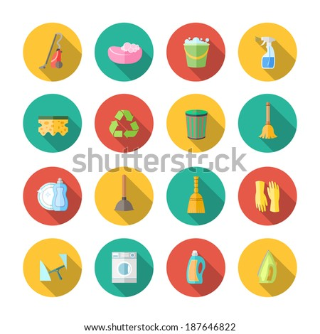 Cleaning dusting and sanitation icons set of can bucket spray plunger isolated vector illustration - stock vector