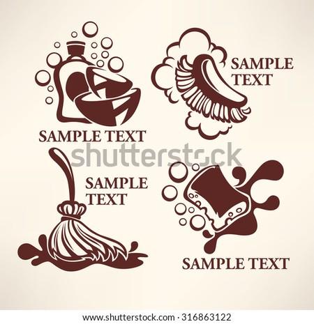 cleaning emblems, logo, symbols - stock vector