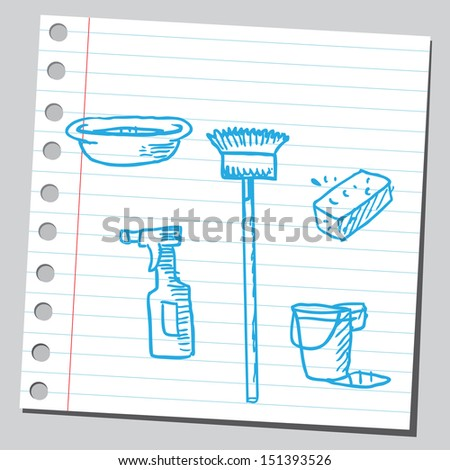 Cleaning equipment  - stock vector