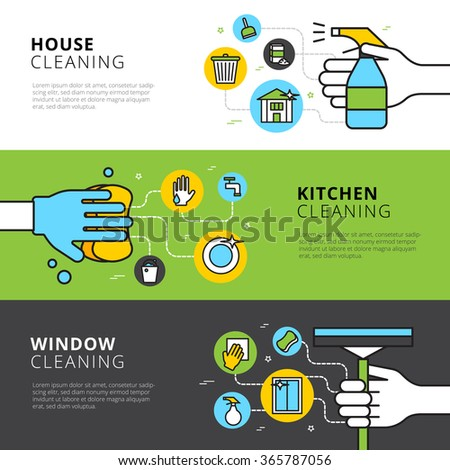 Cleaning flat horizontal banners with hands detergents and tools for house kitchen and window cleaning vector illustration - stock vector