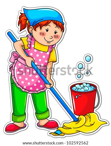 cleaning girl - stock vector