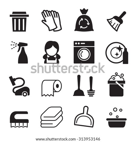 Cleaning icon set - stock vector