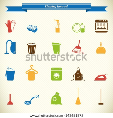 Cleaning icon set in color - stock vector